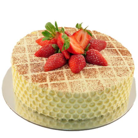 vanilla sponge cake with chantilly cream and fresh strawberries